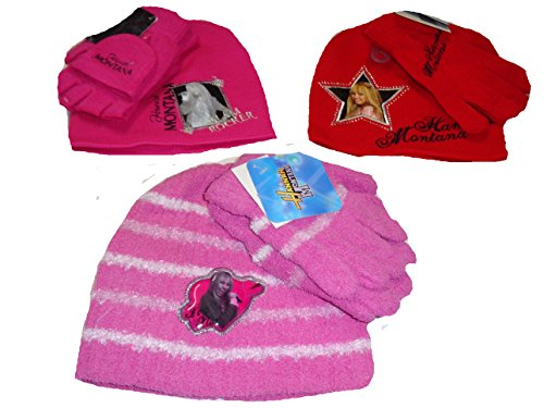 [Disney Girls Winter Set Hat and Gloves Lot of 3] (Miley Cyrus Disney Costume)