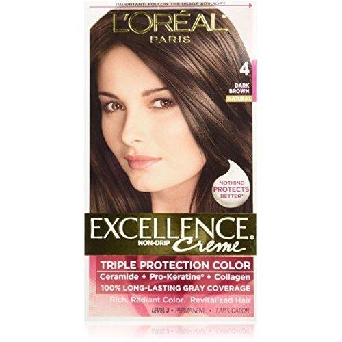 Exc H/C Drk Brn #4 R Size 1ct L'Oreal Excellence Creme Hair Color Dark Brown #4 -  L'Oreal Paris, KA035023