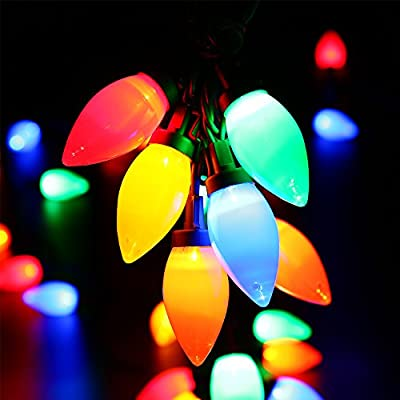 HAYATA C9 Bulbs Christmas Lights 25 LED 16ft Strawberry String Light - Fairy Lighting for Outdoor, Indoor, Garden, Yard, Party, Home, Wreath, Garland, Christmas Tree Decorations (Multi Color)