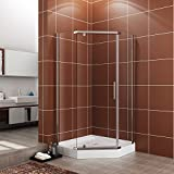 SUNNY SHOWER A33, Semi-frameless Neo-Angle Corner Shower Doors, Fit to 36 3/5'' W x 36 3/5'' D x 71 4/5'' H, 1/4'' Clear Glass, Chrome Finish- Back-wall & Shower Base Sold Separately