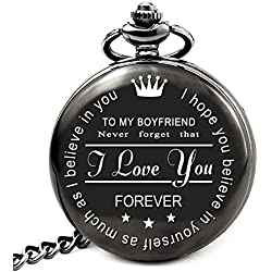 LEVONTA Boyfriend Birthday Gifts for Boyfriend Gifts from Girlfriend, Personalized Pocket Watch I Love You(to My Boyfriend)