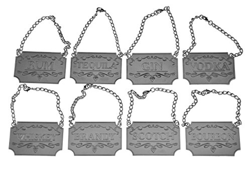 Liquor Decanter Tags / Labels Set of Eight (Silver or Copper Available) - Whiskey, Bourbon, Scotch, Gin, Rum, Vodka, Tequila and Brandy - Silver Colored - Adjustable Chain for the Perfect Fit (Silver)