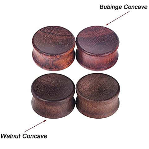 Longbeauty 1Pair Vintage Bubinga Concave Natural Wood Double Flared Solid Ear Plugs Stretcher 7/8