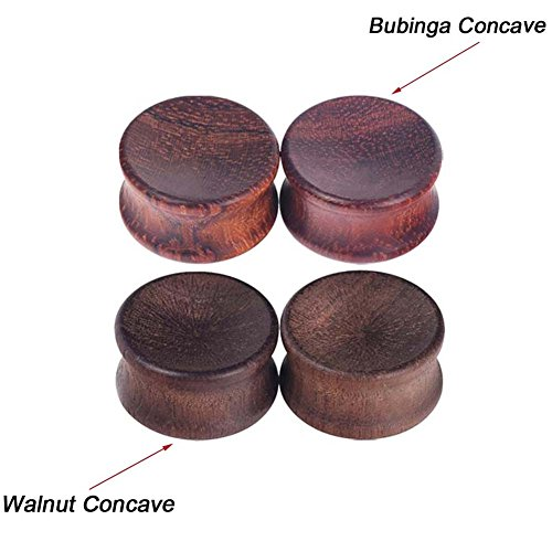 Longbeauty 1Pair Vintage Bubinga Concave Natural Wood Double Flared Solid Ear Plugs Stretcher (Bubinga Body)