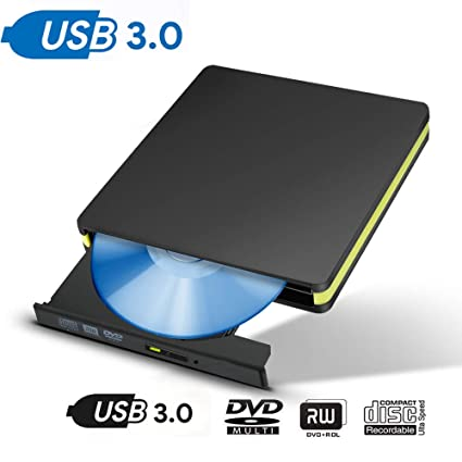 ROSHING Unidad de CD Externa, USB 3.0 portátil CD DVD +/-RW ...