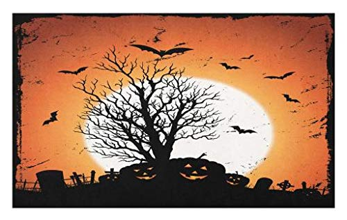 Lunarable Vintage Halloween Doormat, Grunge Halloween Image with Eerie Atmosphere Graveyard Bats Pumpkins, Decorative Polyester Floor Mat with Non-Skid Backing, 30 W X 18 L Inches, Orange Black ()