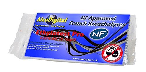 AlcoDigital Ltd French NF Approved Breathalyzer Pro Kit, 1 Unit (0.02% BAC - 2 1/2 Times More Sensitive Than Standard NF Kits!)