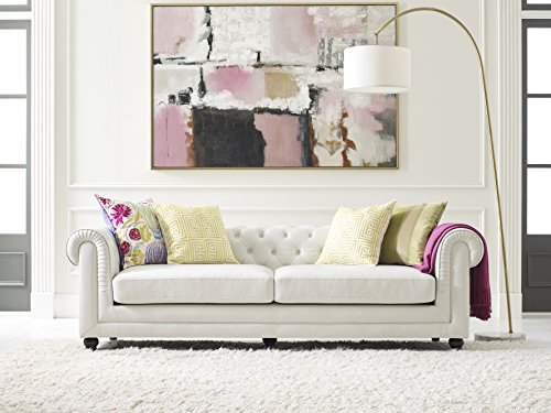 Elle Decor Amery Tufted Sofa, Bonded Leather, Ivory