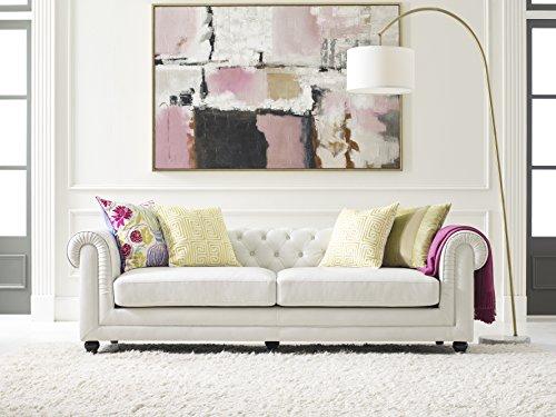 Elle Decor Amery Tufted Sofa, Bonded Leather, Ivory ()