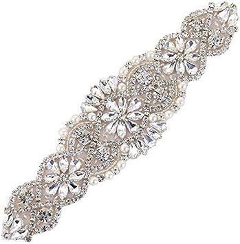 Women/'s Crystal Rhinestone Applique Diamante Trim Iron on Bridal Wedding Dress