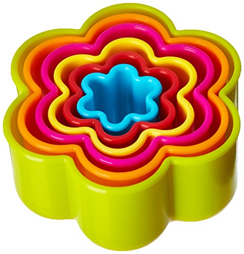 R&M International 1762 Scallop Flower Cookie and Biscuit Cutters, Assorted Sizes, Bright Colors, 6-Piece Set