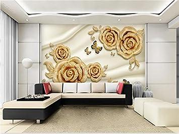 Yosot Custom 3D Fototapete Wohnzimmer Wandbild Goldene Diamant Rose  3D Malerei Fernseher Sofa Hintergrund Vliestapeten