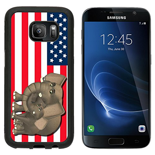 State Mascot Baby Mobile (MSD Premium Samsung Galaxy S7 Aluminum Backplate Bumper Snap Case IMAGE ID: 13768414 Illustration of a mother with a baby in front of the flag of the united states of america)