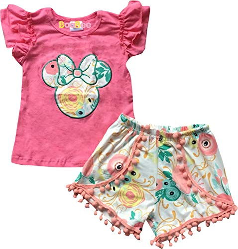 Boutique Toddler Girls Minnie Mouse Head Floral Top Shorts Outfit Coral -