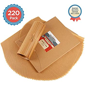Parchment Paper Baking Sheets by Baker's Signature | Precut Silicone Coated & Unbleached - Will Not Curl or Burn - Non-Toxic & Comes in Convenient Packaging - 12x16 Inch Pack of 220
