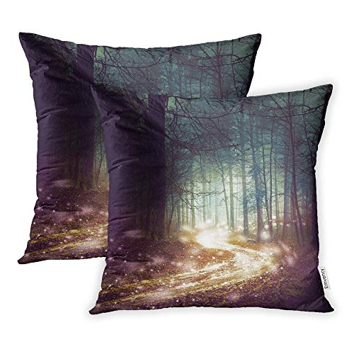 Emvency Set of 2 Throw Pillow Covers Print Polyester Zippered Fantasy Forest Firefly Lights Magic Colored Woodland Fairy Tale Dreamy Foggy Pillowcase 20x20 Square Decor for Home Bed Couch Sofa]()