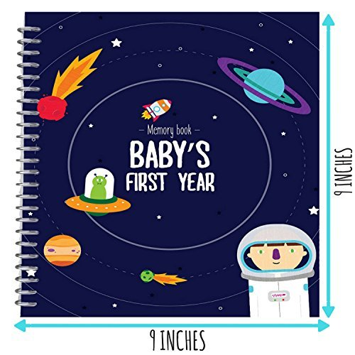 First Year Photo Album with Stickers and Frames to add Your Pictures in a Gorgeous Way Astronaut Babys First Year Memory Book 12 Stickers Included Great Gift for New Moms! Outer Space Edition