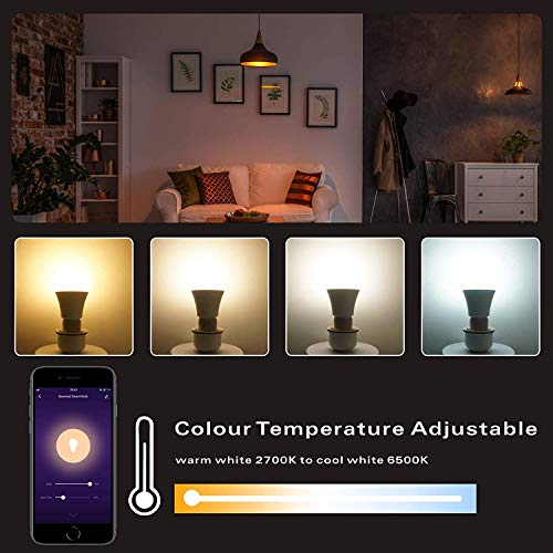 Wixann 9W Smart Wi-Fi Light Bulb Compatible with Alexa & Google Home Assistant (No Hub Required) A19, E26, 80W Equivalent Dimmable RGBCW Color Changing LED Bulbs for Siri, 3 Pack