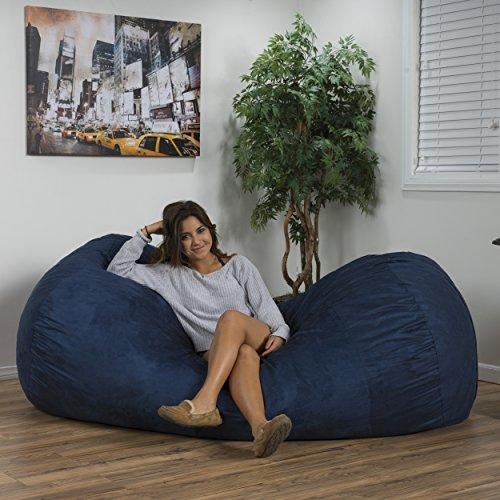 GDF Studio David Faux Suede 8 Feet Lounger Bean Bag (Blue)