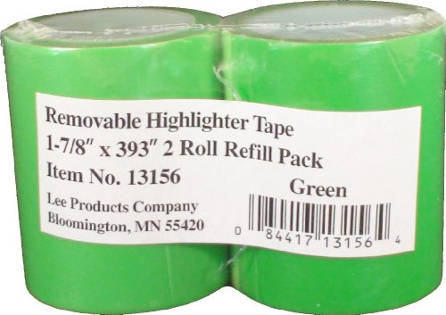 (Lee Removable Wide Highlighter Note Tape, 1-7/8 X 393 in, Green, Pack of 2)