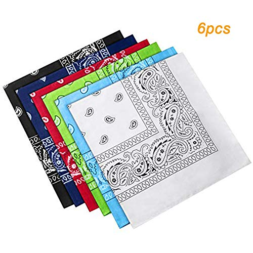 Huture 6 Packs Bandanas Scarfs Kerchiefs with Original Multipurpose Paisley Printing Cashew Pattern Head Wraps Wristbands Assorted 100% Cotton Perfect for Head Ware Party Favor of Men and Women]()