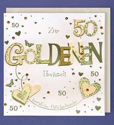 Bodas de Oro tarjeta de felicitación 50 Handmade applikation Dos ...