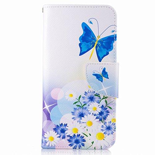Yiizy Samsung Galaxy J5 Prime (G570, G570F/DS, G570Y) Funda, Blue Butterfly Diseño Solapa Flip Billetera Carcasa Tapa Estuches Premium PU Cuero Cover Cáscara Bumper Protector Slim Piel Shell Case Stan