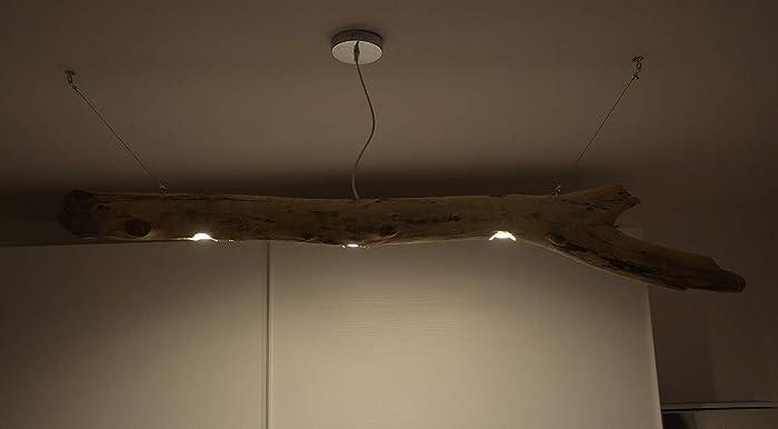 Plafoniere Con Legno : Lampadario da soffitto sospeso con tronco di albero portato dal