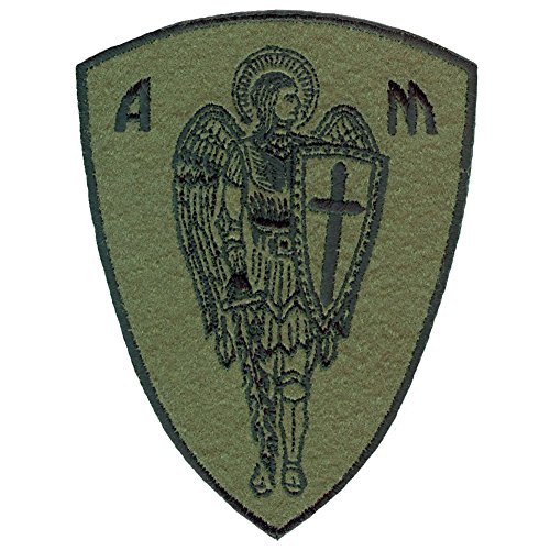 St.Michael Cross Sword Protection Hook Loop Patch Olive Drab 4.5