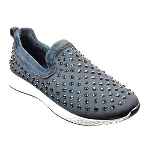 Angkorly - Scarpe da Moda Sneaker slip-on donna strass Tacco tacco piatto 2.5 CM - Blu