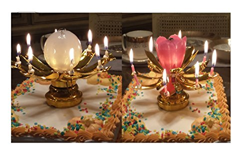 2 Pack Music Birthday Candle -- (1) Gold -- Plus -- (1) You Choose (Lotus Flower Candle)