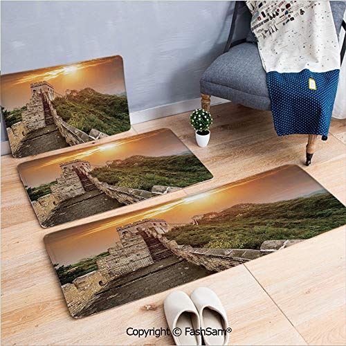- FashSam 3 Piece Flannel Doormat The Magnificent Heritage of World Background Brick Borders Picture for Kitchen Rugs Carpet(W15.7xL23.6 by W19.6xL31.5 by W31.4xL47.2)