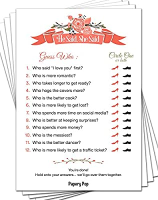 papery pop he said she said 50 sheets bridal shower games wedding shower games wedding games