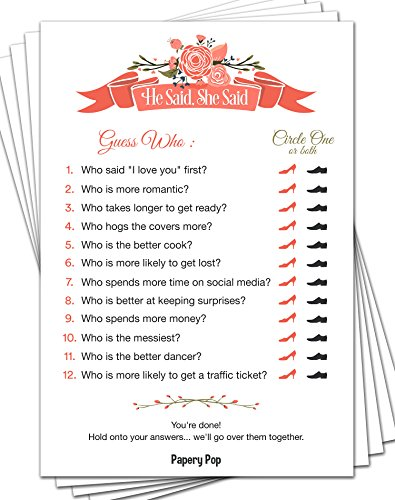 Papery Pop He Said She Said (50 Sheets) - Bridal Shower Games - Wedding Shower Games - Wedding -