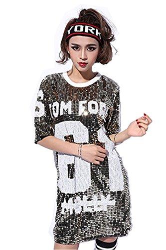 Womens Fashion Sparkle Glitter Sequins Paillette Hip Hop Shirt Tank Top Loose Dancing Tees Gold, One Size (Dress Hip Hop)