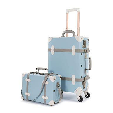 e41ad01b108b UNIWALKER Women Blue Old Vintage Trunk Luggage Set 2 Pieces Travel Suitcase  for Men (20 quot