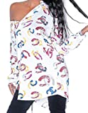Abetteric Womens Single Breasted Oblique Digital Print Leisure Blouses Pattern1 2XL