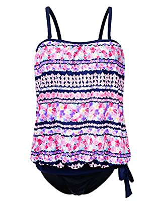 Hilor Women's Bandeau Blouson Swimsuits Two Piece Swimwear Tie Tankini Set