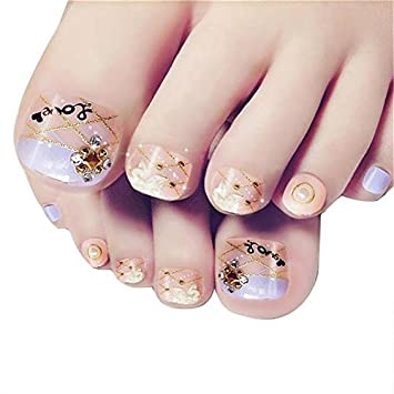 Amazon 24pcs Short 3d Design False Toe Nails Square Artificial