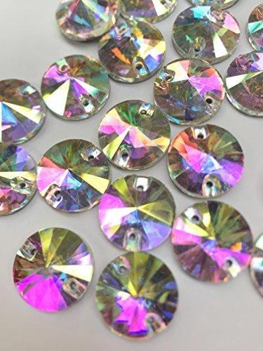 20 x 14mm AB verre transparent /à coudre rond pointu CRISTAL gemmes strass