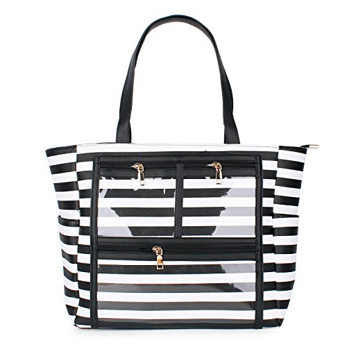 PU Striped Handbag Essential Oils Carrying Bags Water Resistant with multiple display windows (PVC pockets) (PVC black)]()