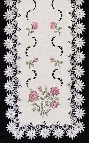 Sinobrite H0608-RS Pink Rose Lacey Edge Square Doily, 24 in.