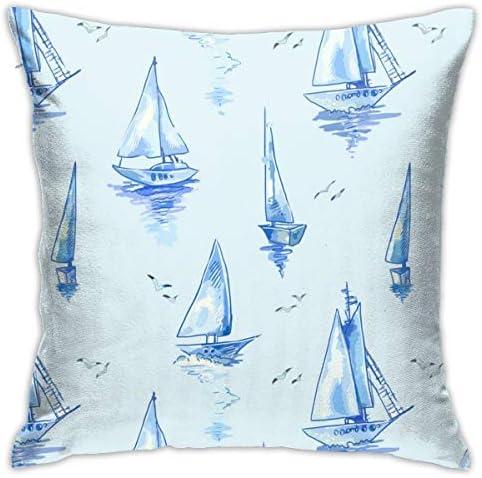 水彩のボートで青いヨットパターン小説と興味深い家の装飾的な枕カバークッションカバーソファカバー