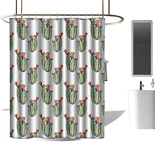 coolteey Shower Curtains Metalic Cactus Decor,Cactus with Spikes and Red Flowers Mexican Hot Desert Vintage Image Art,Green and Orange,W36 x L72,Shower Curtain for Small Shower stall