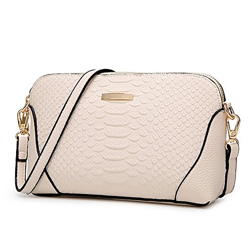 SEALINF Women's Leather Clutch Handbags Crocodile Grain Shoulder Crossbody Bag (white)