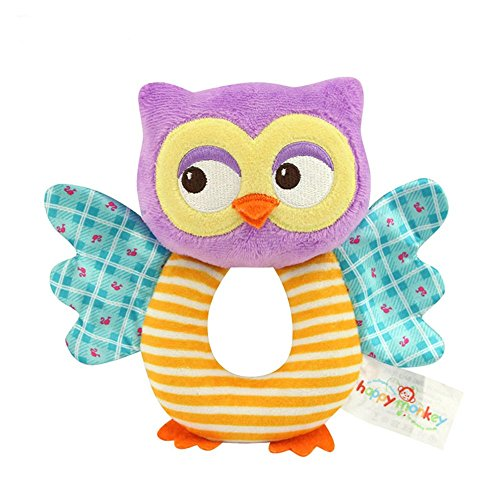 TOLOLO Baby's Wrist Rattle Learning Stuffed Cartoon Animal Hand Bell Plush Doll Toys for Newborn (Owl)