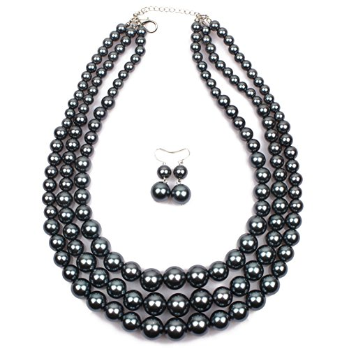 (KOSMOS-LI Women's Simulated Faux Three Multi-Strand Grey Pearl Statement Necklace and Earrings Set)