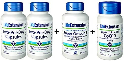 Life Extension 2 Per Day 120 Capsules (2 Pack), Super Omega-3 (Fish Oil) EPA/DHA with Sesame Lignans and Olive Extract 240, Ubiquinol COQ10 with Enhanced Mitochondrial Support, 60 Count (Bundle of 4)