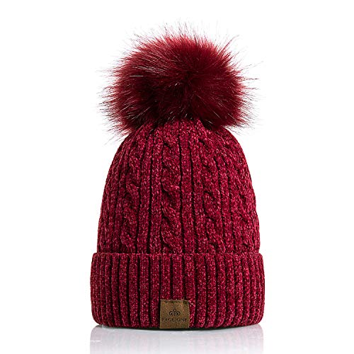(PAGE ONE Women Winter Pom Pom Beanie Hats Warm Fleece Lined,Chunky Trendy Cute Chenille Knit Twist Cap/Red Wine)