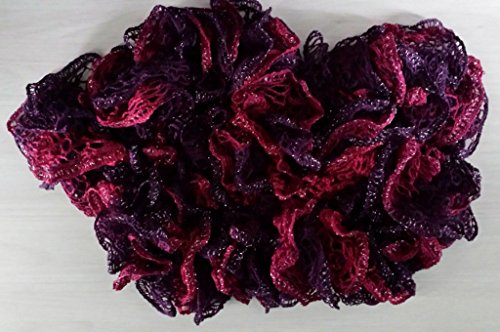 - Fashion Vintage European Ruffle Scarf - Handmade Knitted Lacy Scarf - Red Heart Sashay Yarn (Tango) - Red Wine Purple